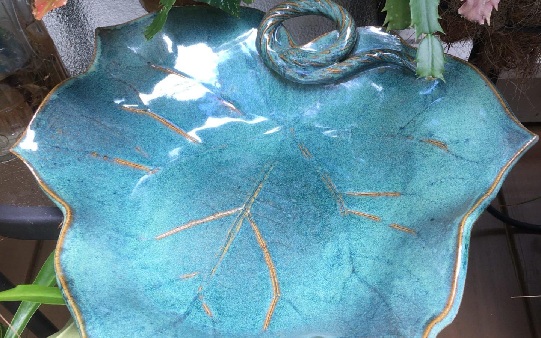 "Anne Bray, ""Leaf Bowl"", stoneware, 14 x 14 x 3 in, $50, Instructor of Ceramics"