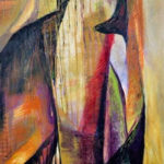 "Claudia Botwin, ""Tallit"", acrylic on paper, 30 x 22 in, $850"