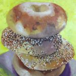"Cinzia Dalessi, ""Bagels for breakfast"", acrylic on canvas, 20 x 16 in, $90"