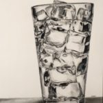 "Cinzia Dalessi, ""Water on the rocks"", charcoal on paper, 24 x 18 in, $90"