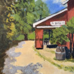 "Carol Dew, ""Red Barn Café"", oil on canvas, 12 x 9 in, $150"
