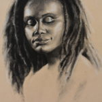"Christine Ladd, ""Portrait of a woman"", charcoal on paper, 18 x 24 in, NFS"