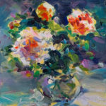 "Diana Toma, ""Happy morning with roses"", oil on canvas, 6 x 6 in, $140, Instructor in the Painting & Drawing Department"