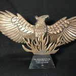 "Luke Greene, ""Phoenix"", handcarved in wood, cast in bronze, 8 x 10 in, $425, Instructor of Sculpture"