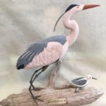 "Luke Greene, ""Blue Heron and Sandpipper"", handcarved in wood, mounted on driftwood, NFS, Instructor of Sculpture"