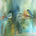 "Nancy Armstrong, ""Bluebirds"", oil on canvas, 24 x 24 in, $600"