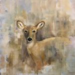 "Nancy Armstrong, ""Doe, a Deer"", oil, 36 x 36 in, $900"