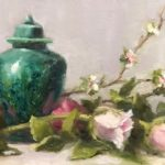 "Pat Fiorello, ""Emerald Jar & Roses"", oil, 10 x 20 in, $850, Instructor of Drawing & Painting"